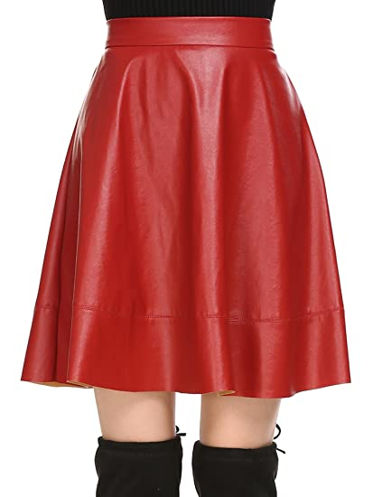 2852df6cb4f86 Zeagoo Women s Synthetic Leather High Waist A-Line Swing Skater Skirt Red S