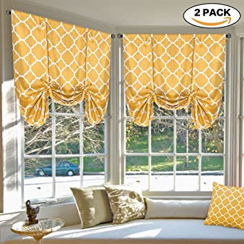 Exceptionnel H.VERSAILTEX Blackout Curtains Thermal Insulated Blind   Moroccan Orange  Pattern Tie Up Panels Adjustable