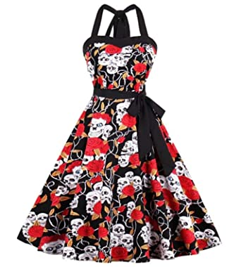 Amazon.com: jmpVGR Summer Floral Print Skull Dress Plus Size ...