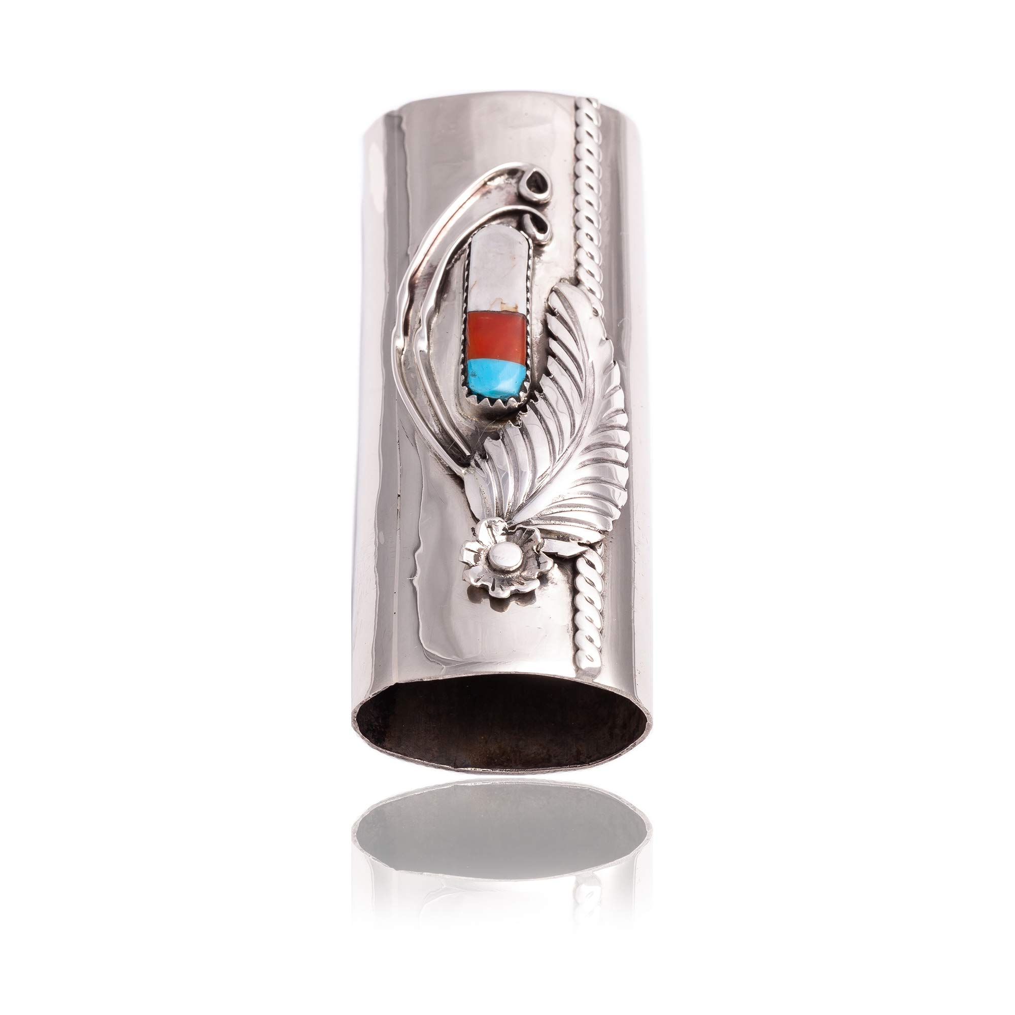 $190Tag Flower Nickel Silver Certified Navajo Inlaid Turquoise MOP Onyx Coral Lighter Case 18122 Made by Loma Siiva by Native-Bay (Image #5)