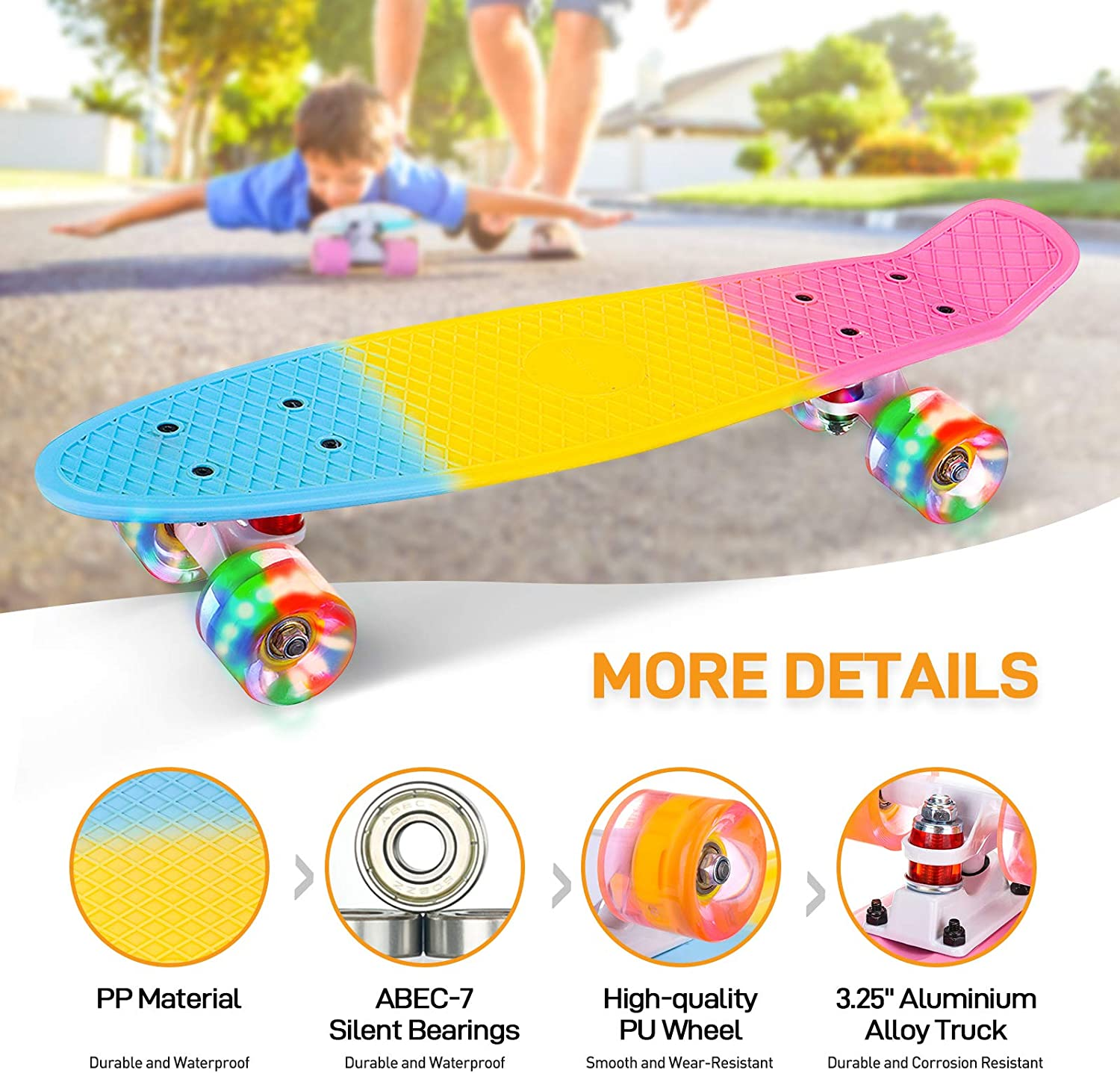 SGODDE 22 Inch Skateboards Complete Mini Cruiser Retro Skateboard Colorful LED Light up Wheels with All-in-One Skate T-Tool for Kids Teens Girls Boys Youths Beginners