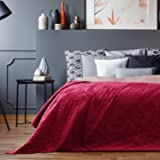 AmeliaHome Dwustronna narzuta na łóżko 170x210 cm amarant liliowy pikowana Velvet Samt Laila