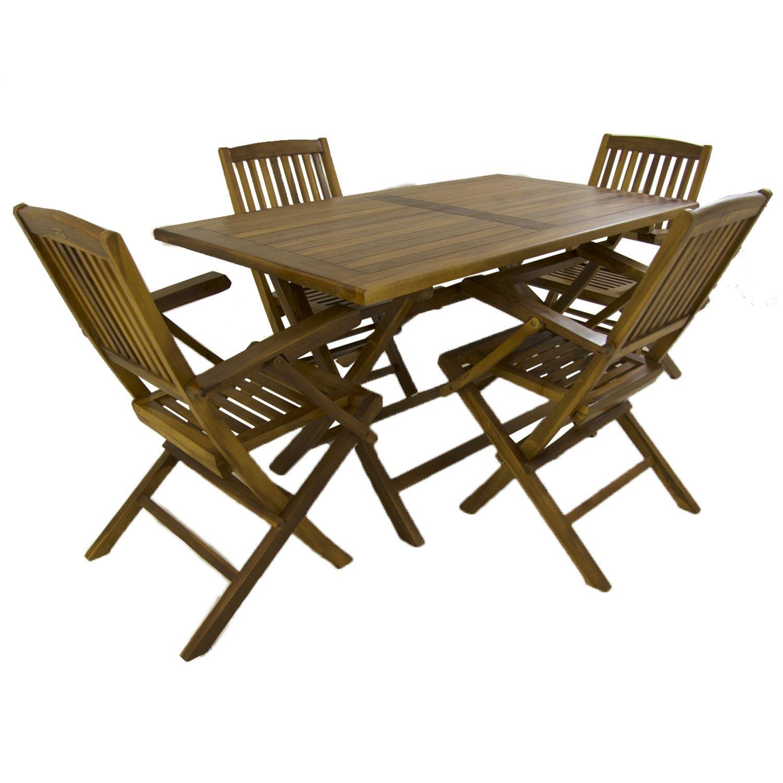 Conjunto para jardín de Madera Teca | Mesa Rectangular 140 cm y 4 sillones Plegables | Madera Teca Grado A | Tratamiento al Agua aplicado | Portes ...
