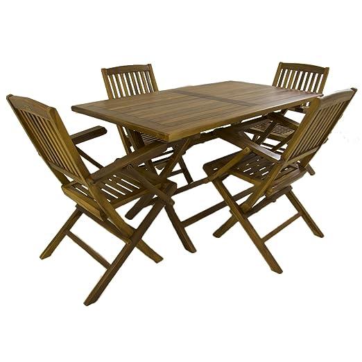 Conjunto para jardín de Madera Teca, Mesa Rectangular 140 cm y 4 sillones Plegables, Madera Teca Grado A, Tratamiento al Agua aplicado
