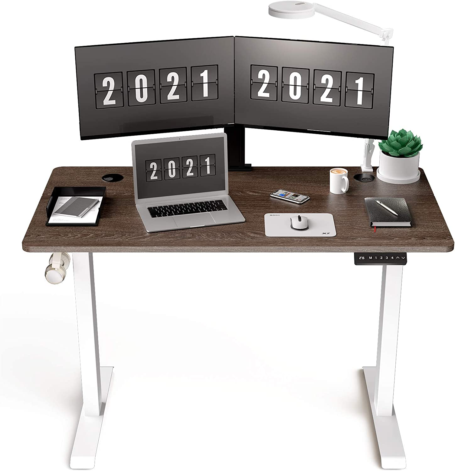 HisoHu Electric Height Adjustable Standing Computer Desk, Ergonomic Sit Stand Home Office Workstation Table(48 x 24 Inches Walnut Tabletop/White Bracket)