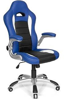 hjh OFFICE 621890 silla de gaming RACER SPORT piel sintética azul / negro, apoyabrazos plegables