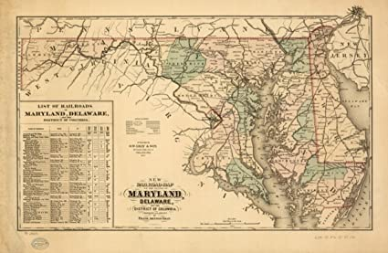 Amazon.com: Map: 1876 New railroad of the state of Maryland ...