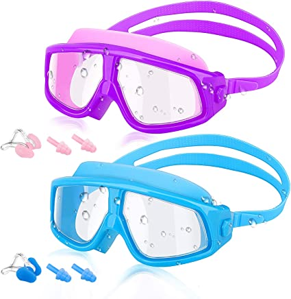 Adjustable Strap Unisex Swimming Diving Goggles Glasses Set+Earplugs