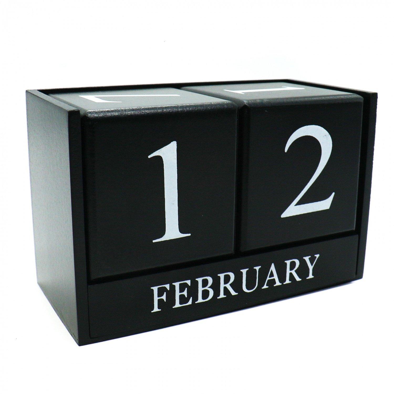 Hueleヴィンテージ木製Perpetual Calendarデスクトップカレンダーシックブロック素朴な木製キューブカレンダーブロックスタンドホームオフィス装飾(ブラック)   B07CLT45PL