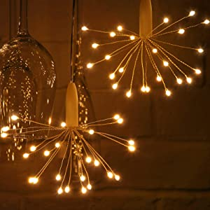 2 Pieces Flower String Lights LED Multi-Color Fairy Light Hanging Sphere Lights Battery Operated Firework Lights for Room Garden Pathway Festival Indoor Outdoor Party Decoration (Round Flower)