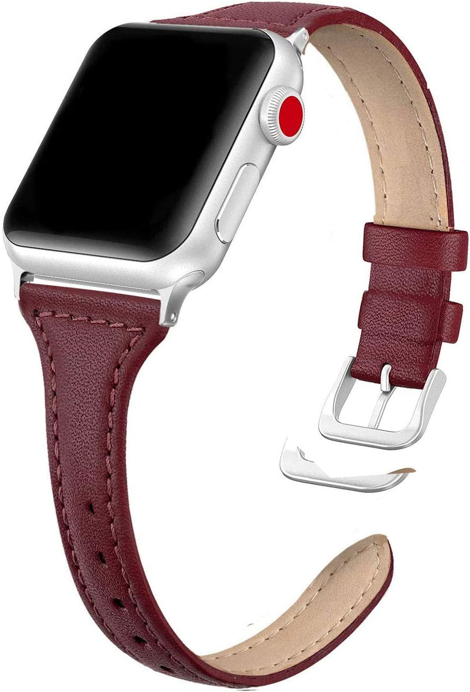 SWEES Leather Band Compatible for iWatch 38mm 40mm, Slim Thin Elegant Genuine Leather Strap Compatible for iWatch Series 6, 5, 4, 3, 2, 1, SE, Sport & Edition Women, Wine Red