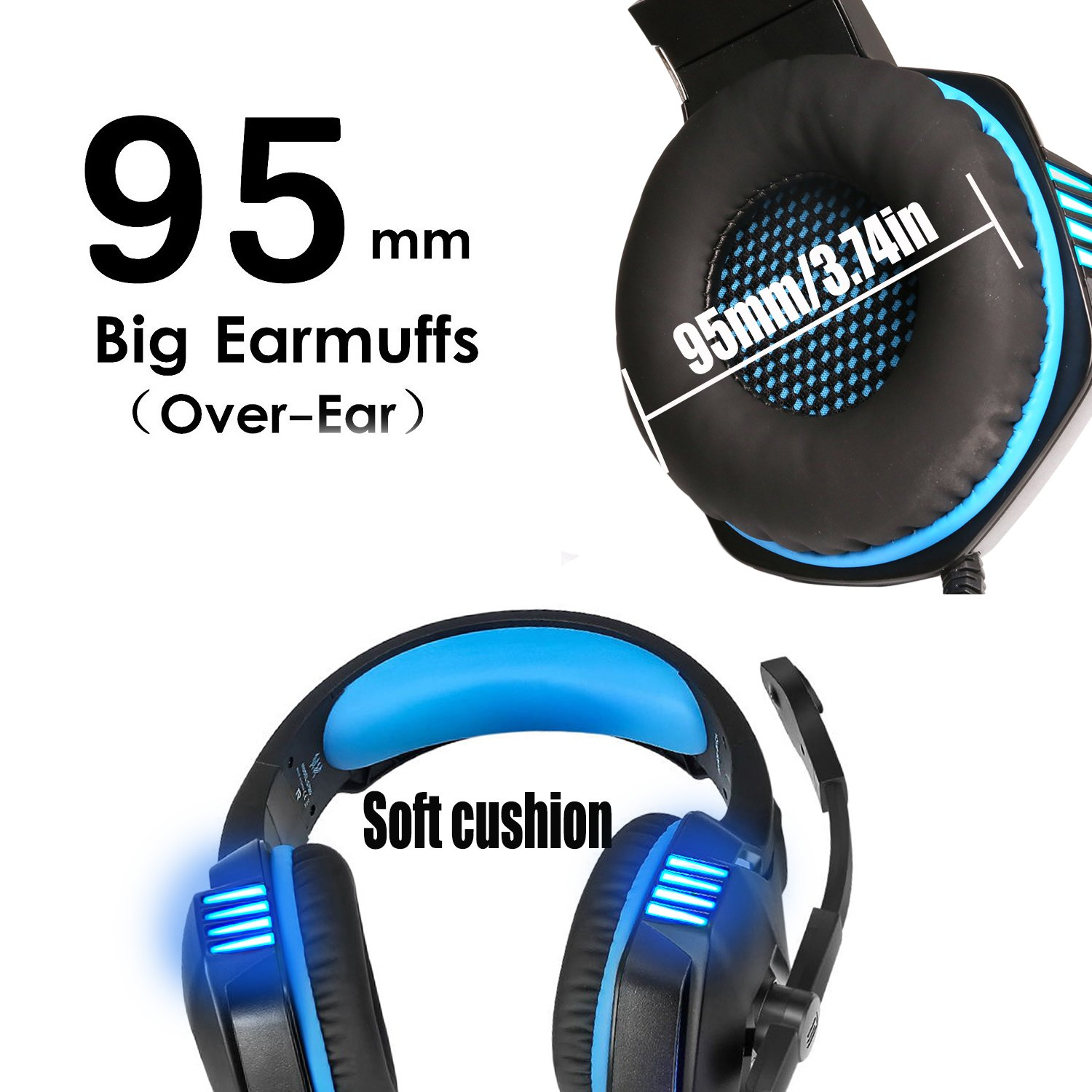 KJ-KayJI Gaming Headset for PS4 Xbox One Over Ear Gaming Headphones with Mic Stereo Bass Surround Noise Reduction,LED Lights and Volume Control for Laptop PC Mac IPad Computer Smartphones Xbox (Blue) by KJ-KayJI (Image #4)