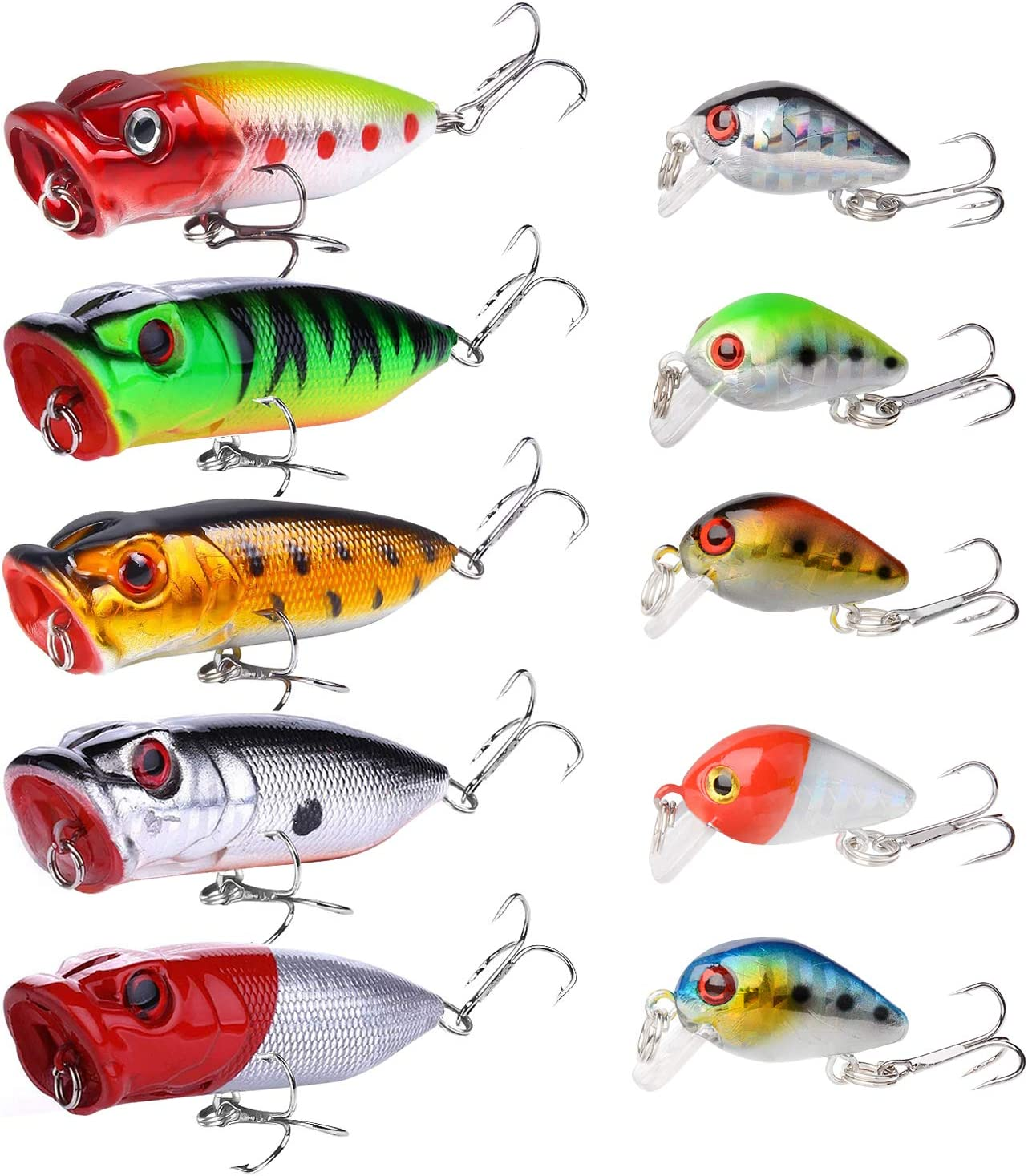 Lot 10pcs Fishing lures Top water Floating Popper Lure Hooks Bait Crankbait