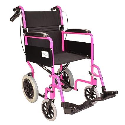 Ligera silla de ruedas plegable de viaje - rosa