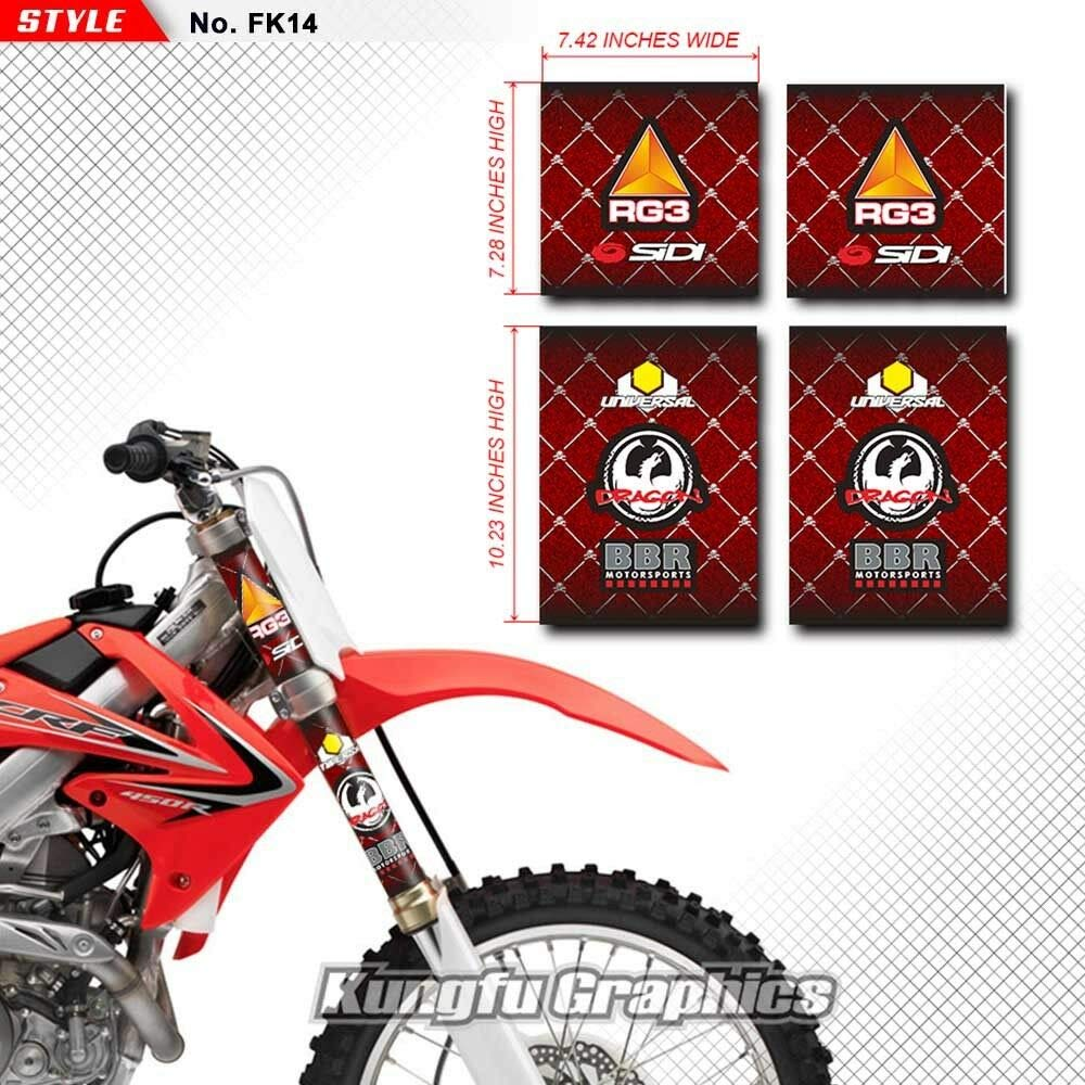 Kungfu Graphics Bridgestone Upper Mid Fork Tube Decal Kit Red Pack of 4