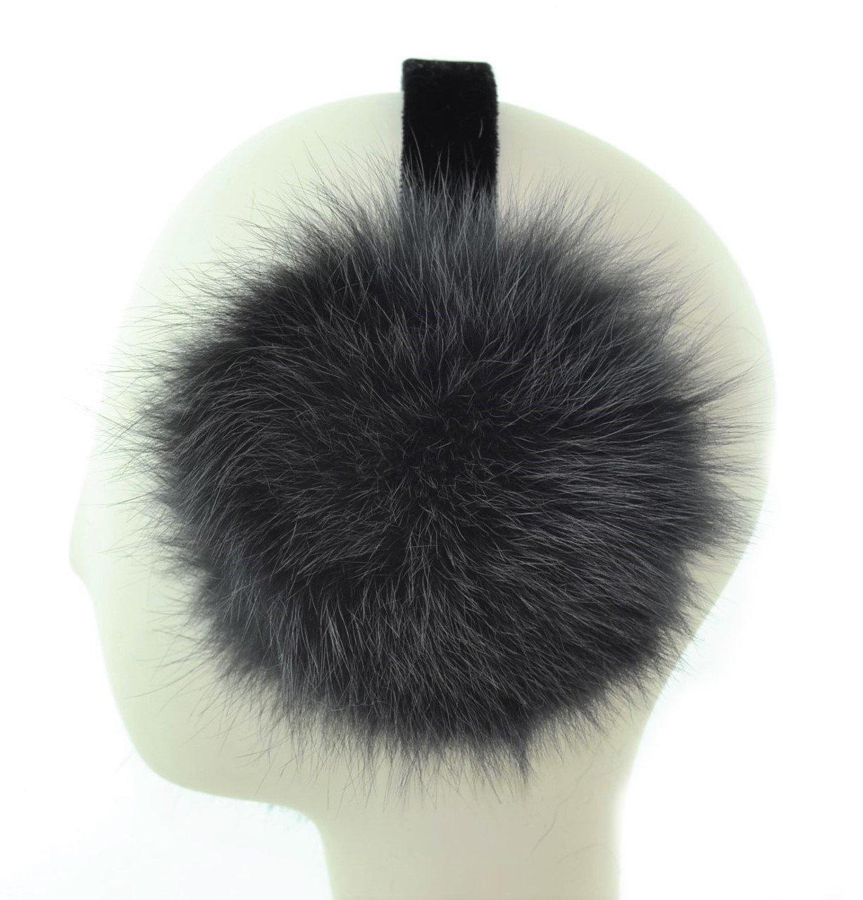 Coyote Fur Earmuff with Velvet Band(Grey)