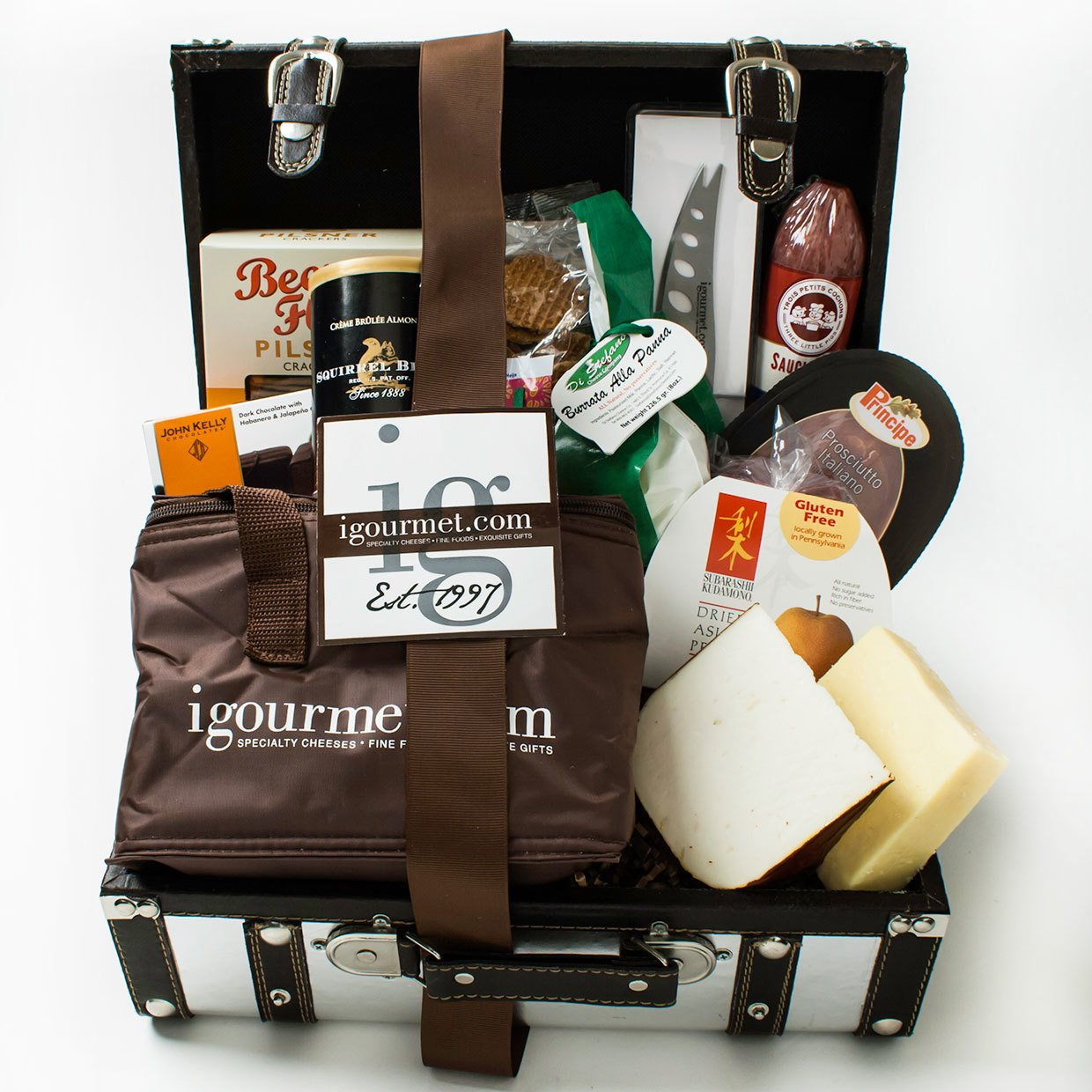 KaBloom Gift Basket Collection: The Platinum Foodie Gift Case of Gourmet Cheese, Sausage, Crackers, Chocolate, Nuts, Fruit and Cheese Knife by KaBloom (Image #1)