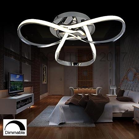 AUROLITE HALO   Contemporary LED Chrome Semi Flush Ceiling Light, 36W  2500LM, Dimmable,