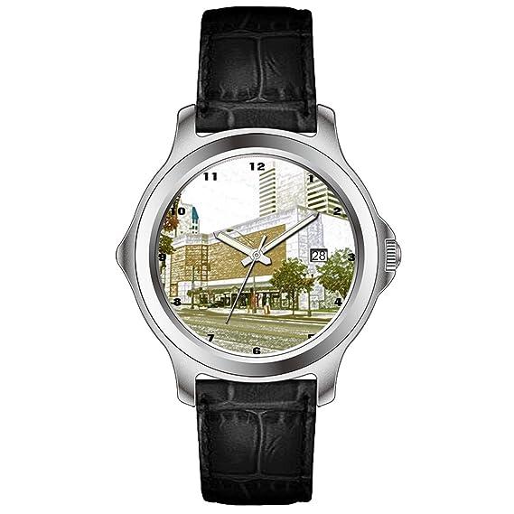 wyhj Hombres Clásico Único de piel de color negro calendario reloj digital de centro de centro comercial de colores lápiz Sketch: Amazon.es: Relojes