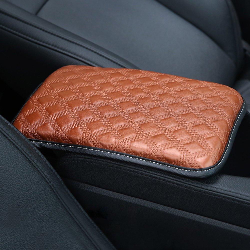 Black U/&M Auto Armrest Console Cushion Leather Memory Foam Arm Rest Support Arm Rest Padding Protective Case Soft PU Vehicle Seat Cushions Armrest Pillow