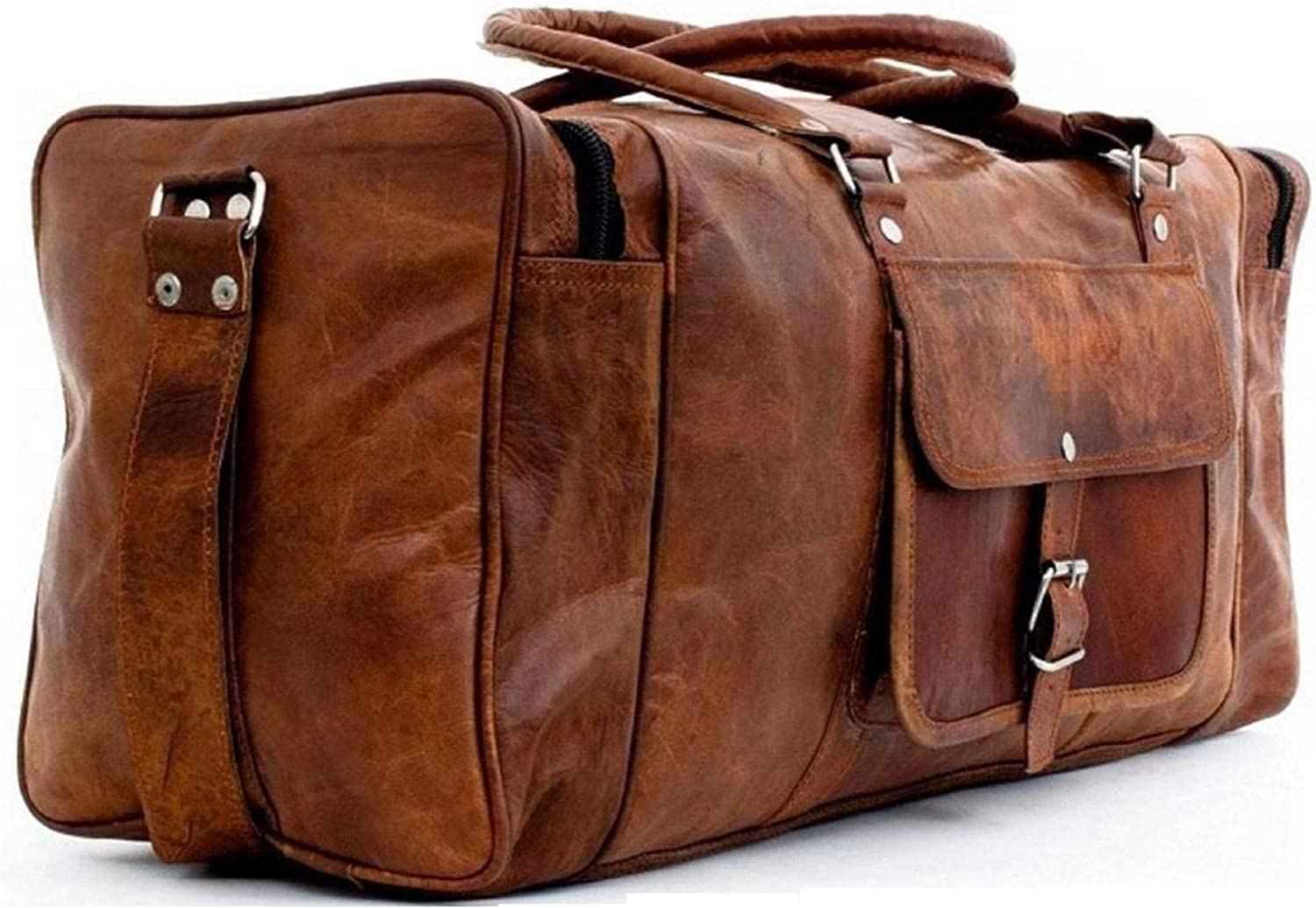"""30/""""Real leather large Duffel Luggage briefcase travel bag handmade BIG OVERNIGHT"""