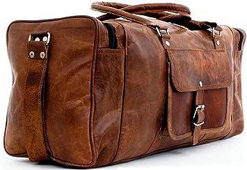 "30/""Men/'s Genuine Leather luggage gym weekend overnight duffle large vintage bag"