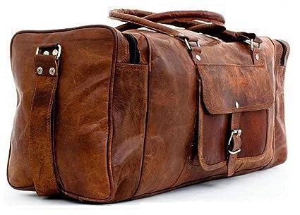 fcda0dc2f8ae CraftShades Handmade Duffel Bag Vintage Leather Travel Gym Overnight  Weekend Sports Cabin Bag