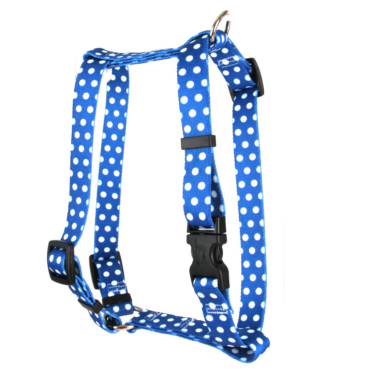 Yellow Dog Design Navy Polka Dot Roman Style H Dog Harness, X-Large-1'' Wide and fits Chest of 28 to 36''