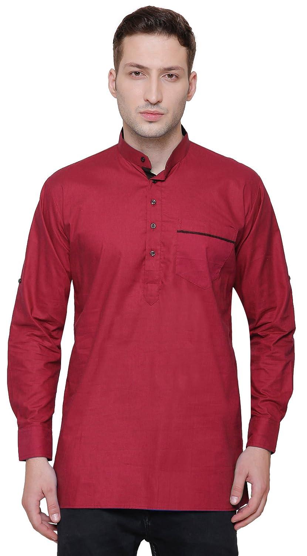 Maple Clothing Short Kurta Shirt Men's Cotton Designer Indian Fashion Apparel shkdes-km-ap