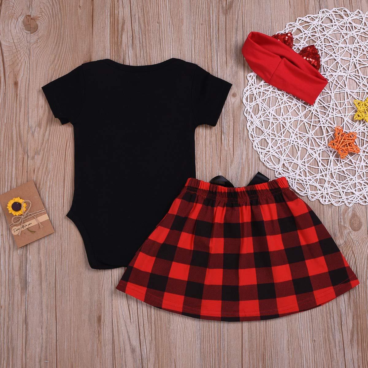 Newborn Infant Kids Big Little Sister Matching Romper T-Shirt Plaid Skirt Bowknot Headband Outfits Summer Set
