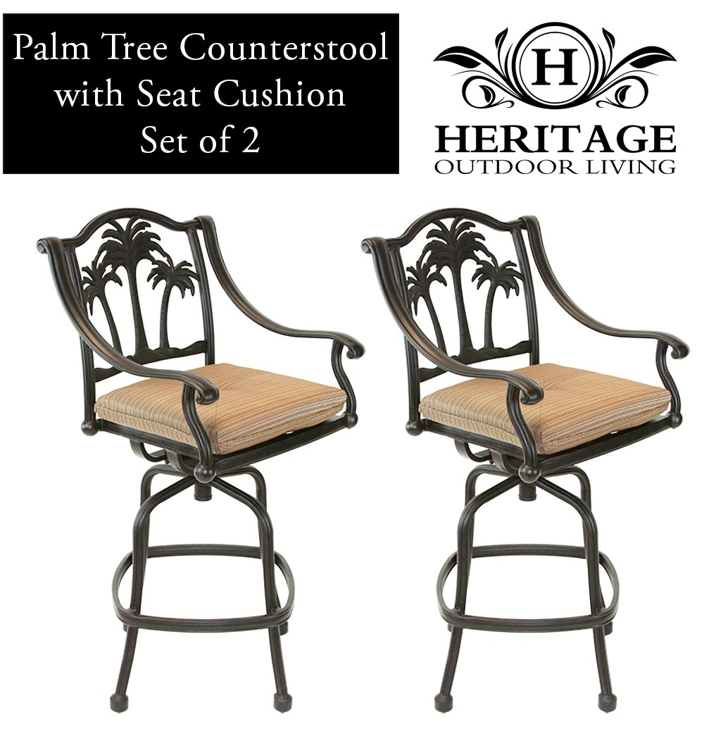 Amazon.com: Heritage Outdoor Living Palm Tree Cast Aluminum Barstool   Set  Of 2   Antique Bronze: Patio, Lawn U0026 Garden