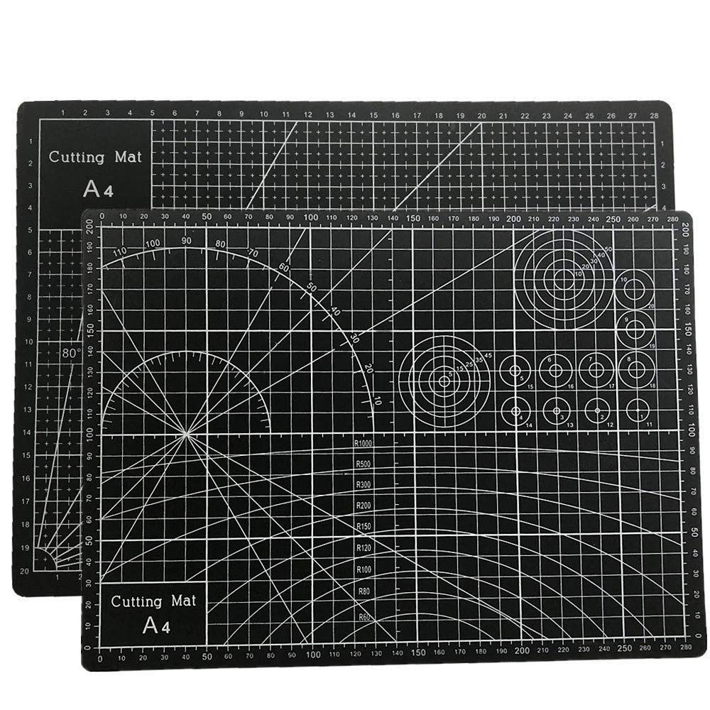 """Tukcherry 9"""" x 12"""" Professional Self Healing Double Sided Durable Non-Slip PVC Cutting Mat Scrapbooking, Quilting, SewingArts & Crafts(Black, A4 (12 x 9)"""