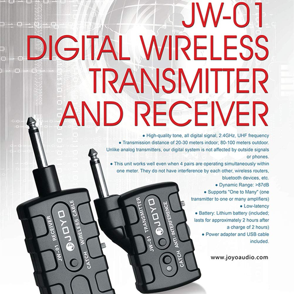 Leoie Digital Pro Guitar Bass Wireless Rechargeable 2.4Ghz Audio Transmitter Receiver Kit US Plug by Leoie (Image #8)
