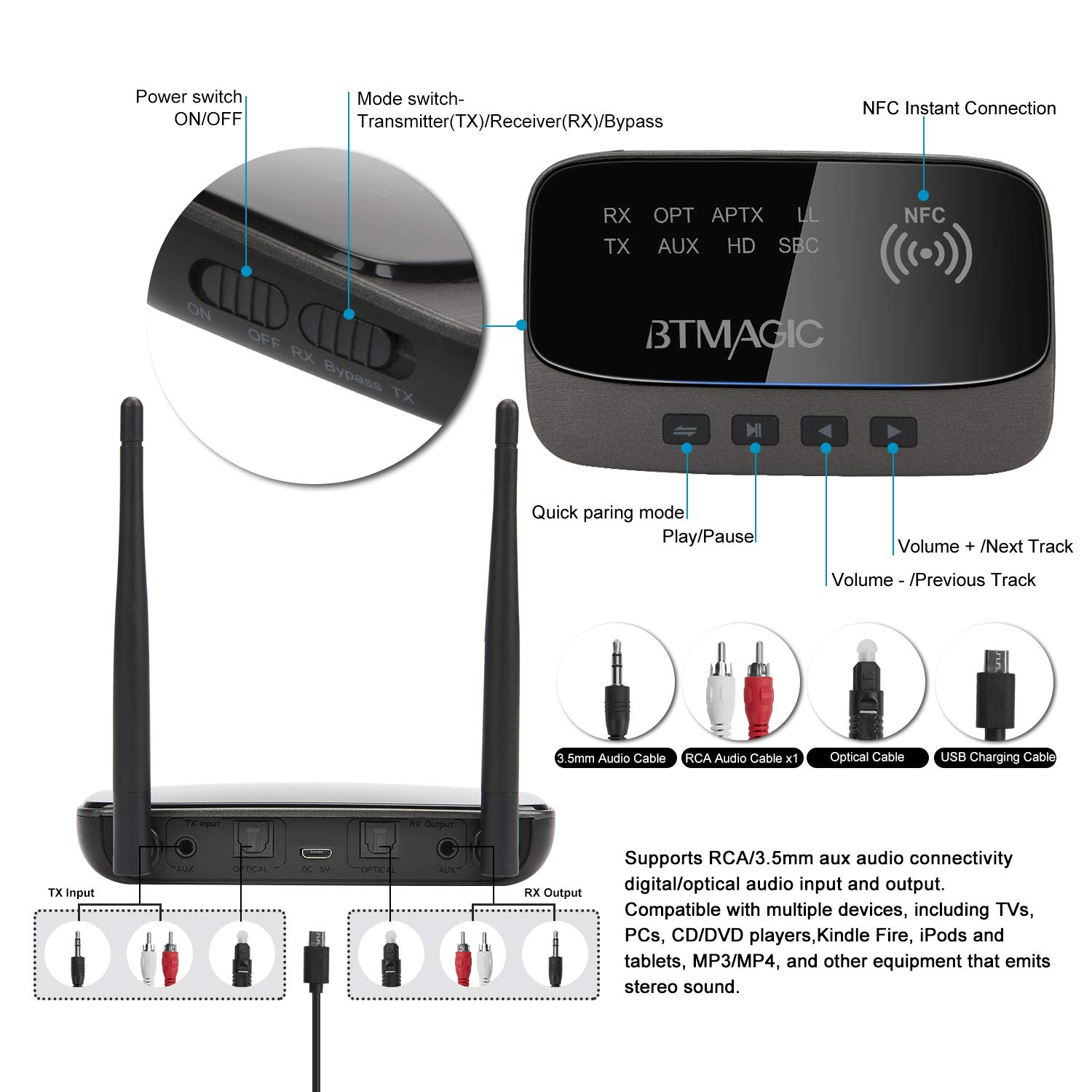 BTMAGIC Bluetooth 5.0 Transmitter Receiver 265FT Long Range 3 in 1 Bluetooth Audio Adapter aptX HD & aptX Low Latency, Optical RCA AUX 3.5mm for TV Home Stereo PC Headphone/Speaker, USB Rechargeable by BTMAGIC (Image #8)