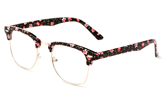 268dd96c2f0 Image Unavailable. Image not available for. Colour  Newbee Fashion -  Clubmaster Oval Stylish Retro Vintage Semi-Rimless Floral Classic ...
