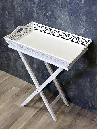 Tablett Tisch Serviertisch Beistelltisch Weiss Landhaus Shabby