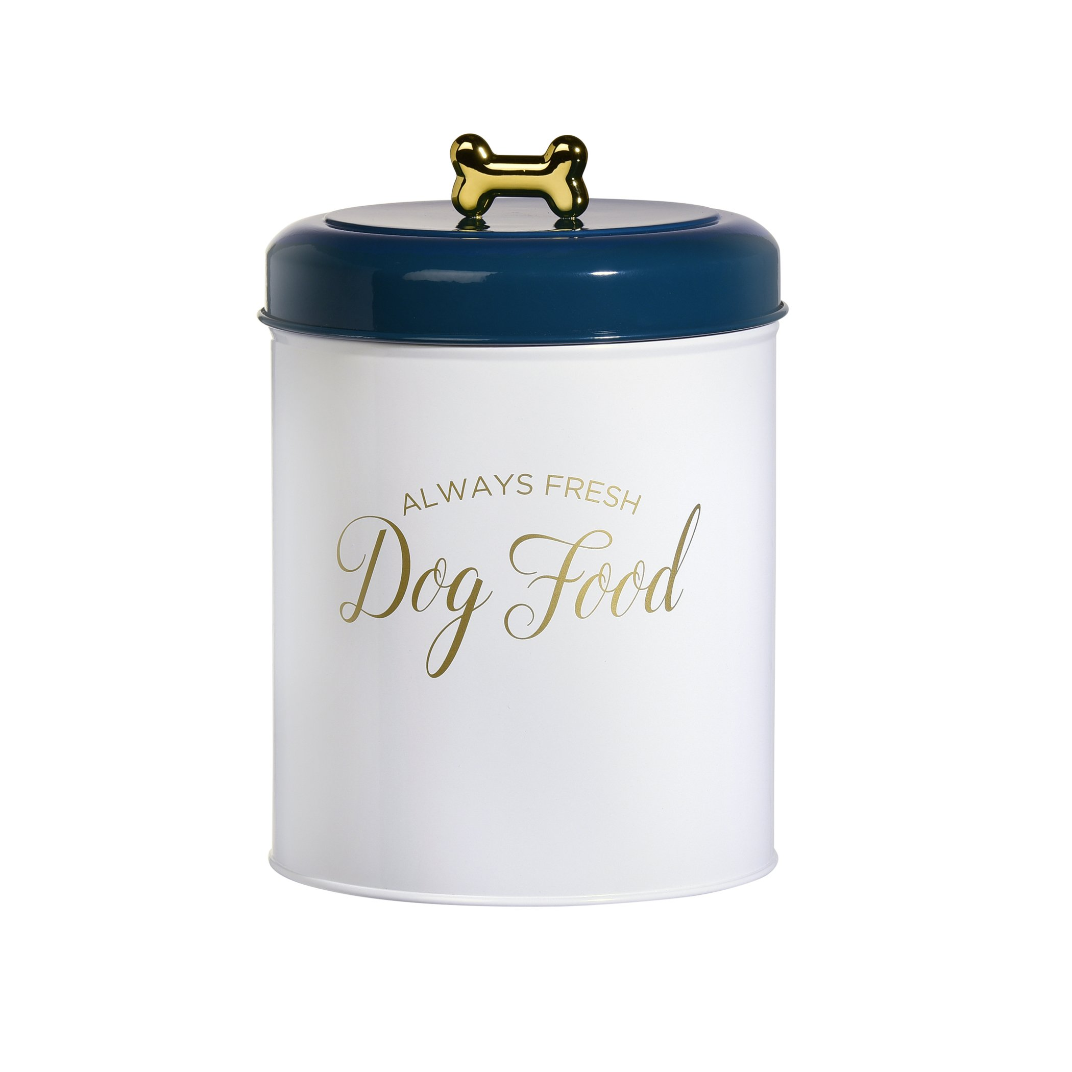 Amici Pet, 7CDI036R, Maltese Round Metal Dog Food Storage Canister, Always Fresh Dog Food Decal, Gold Tone Lettering and Bone Shaped Knob, Food Safe, 140 Ounces