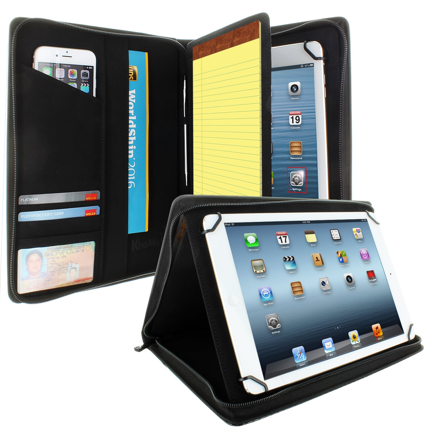 KHOMO Universal Tablet Padfolio Zippered Case for 8.5'' to 11'' Tablets - Carbon Fiber - Compatible with iPad Air, Pro 11 and Many Others