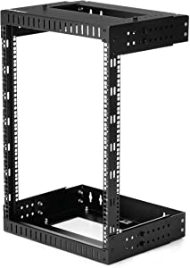 "StarTech.com 15U 19"" Wall Mount Network Rack - Adjustable Depth 12-20"" 2 Post Open Frame Server Room Rack for AV/Data/ IT Communication/Computer Equipment/Switch w/Cage Nuts & Screws (RK15WALLOA)"