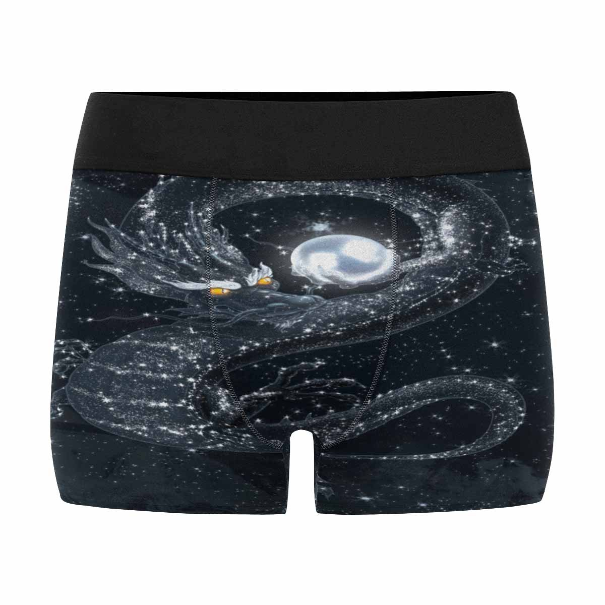 INTERESTPRINT Mens All-Over Print Boxer Briefs Dark Dragon with A Shining Pearl in The Starry Sky XS-3XL
