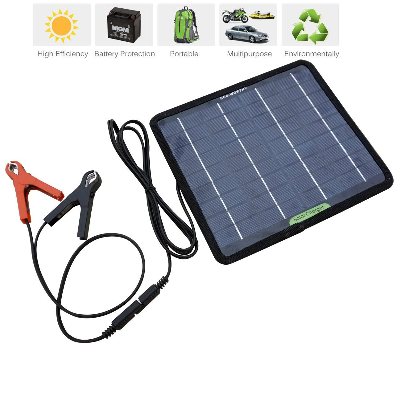 Eco Worthy 12 Volts 5 Watts Portable Power Solar Panel Battery Charger Circuit With Over Charge Protection My Backup For Car Boat Batteries Garden Outdoor