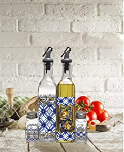 Circleware Cucina Dual Glass Olive Oil and Vinegar Beverage Dispenser Bottles 4-Piece Pourer Spouts & Matching Salt and Pepper Shakers, Home & Kitchen Decor Glassware Set, 17 oz, Clear