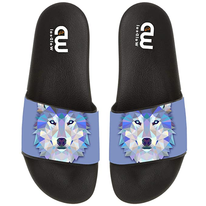 65aed1b82c64 Amazon.com  Cartoon Triangle Wolf Design Summer Slide Slippers For Men  Women Kid Indoor Open-Toe Sandal Shoes  Clothing
