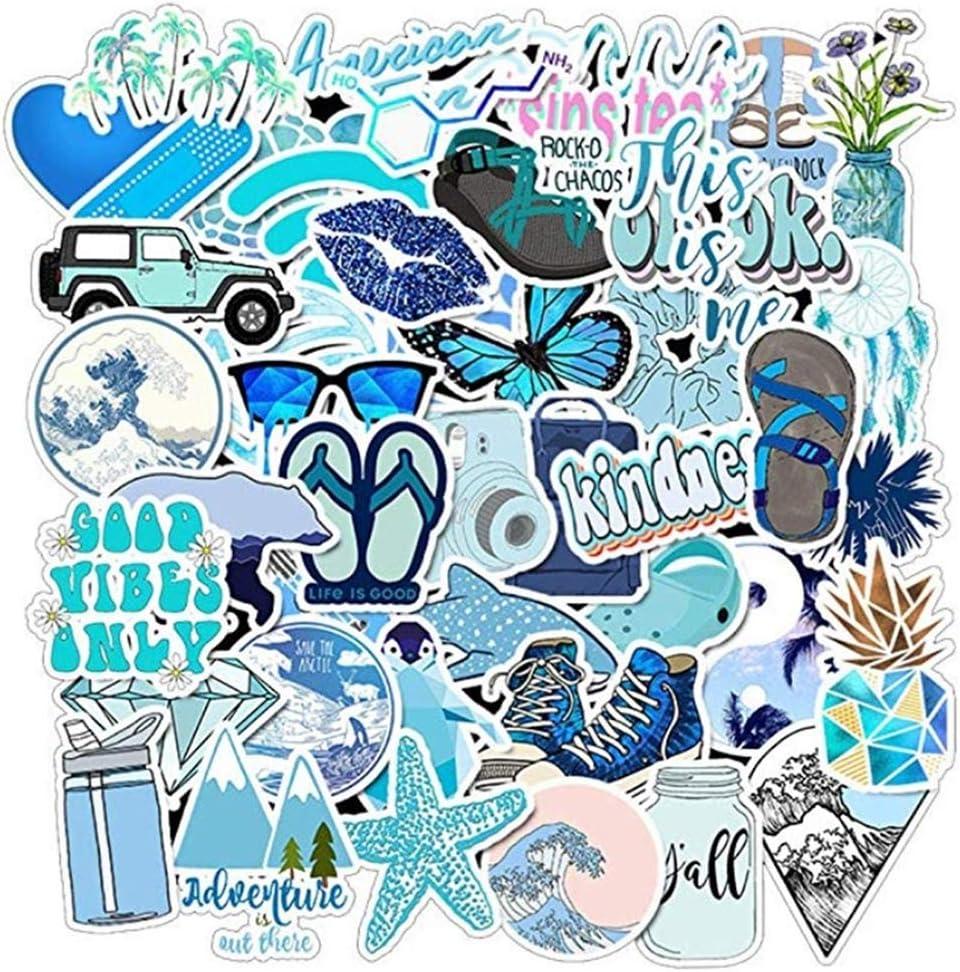 Vsco Water Bottle Stickers Packs, Girl Cute Waterproof Vinyl Sticker, Laptop Luggage Phone Car Skateboard for Teenager (Blue /50pcs)