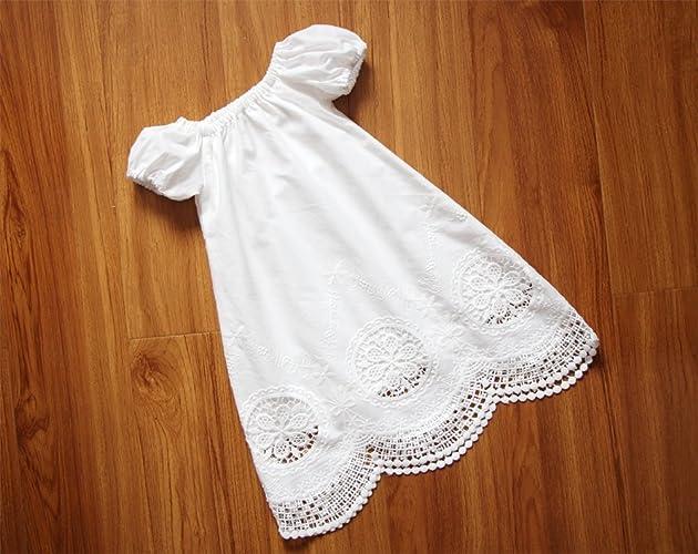 Amazon.com: SALE Handmade Short Sleeves White Baby Girl Christening ...