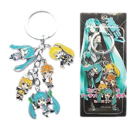 Hatsune Miku muñeca figura colgantes Color llavero de metal ...