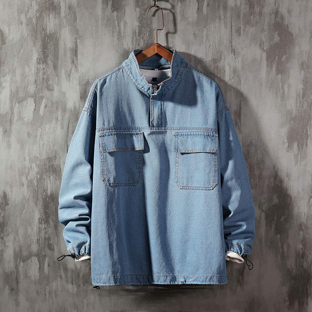 Ultramall Long Sleeve Men's Autumn Fashion Large Size Tooling Casual Jacket Denim Jacket Top Blouse by Ultramall (Image #2)