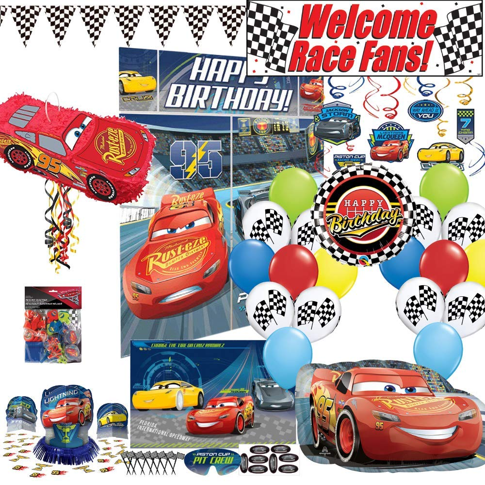 Birthday Party Set :: Ya Otta Lightning McQueen Cars Pinata bundled with Cars Party Supplies, Favors and an eBook on Kids Birthday Party Games