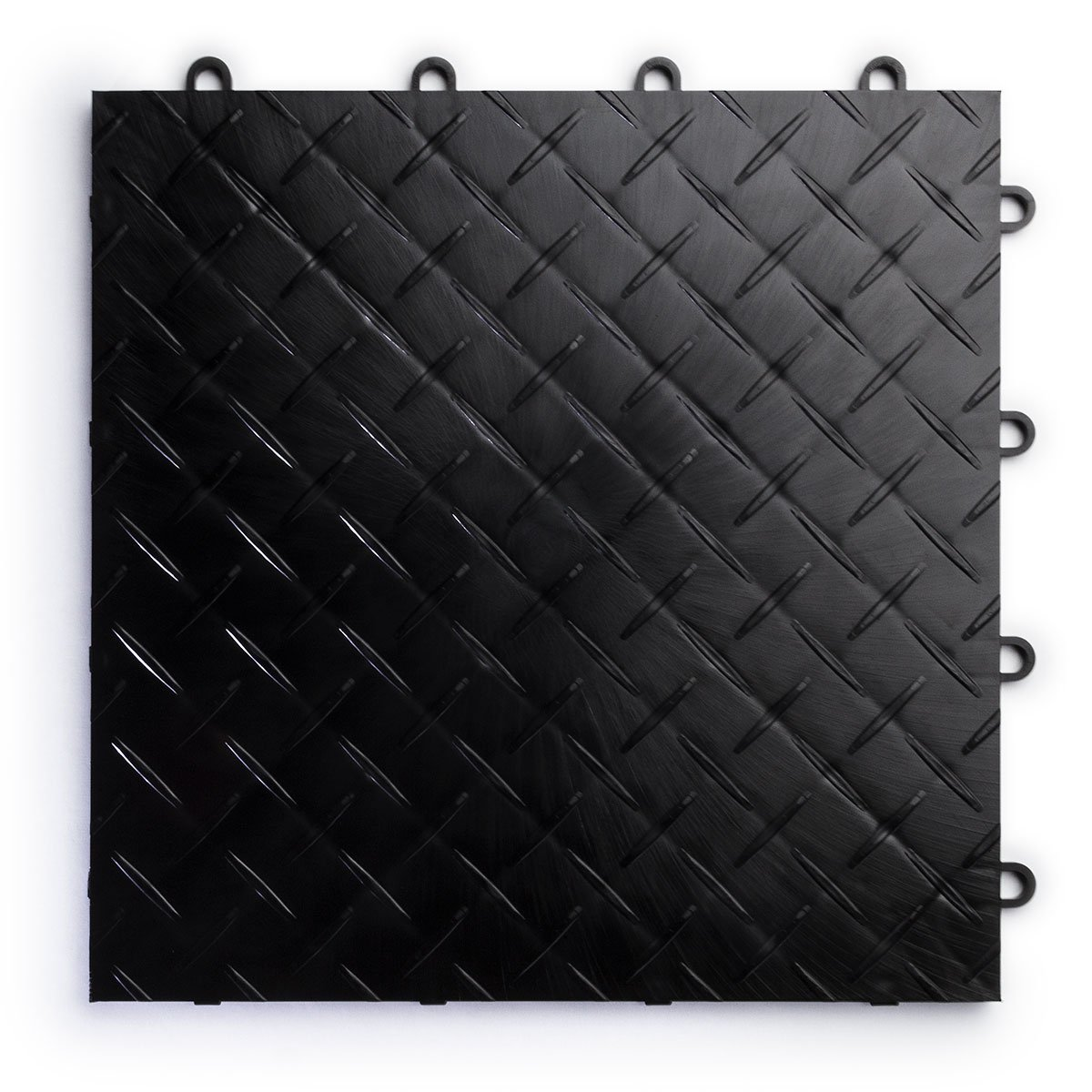 RaceDeck Diamond Plate Design, Durable Interlocking Modular Garage Flooring Tile (48 Pack), Black by RaceDeck