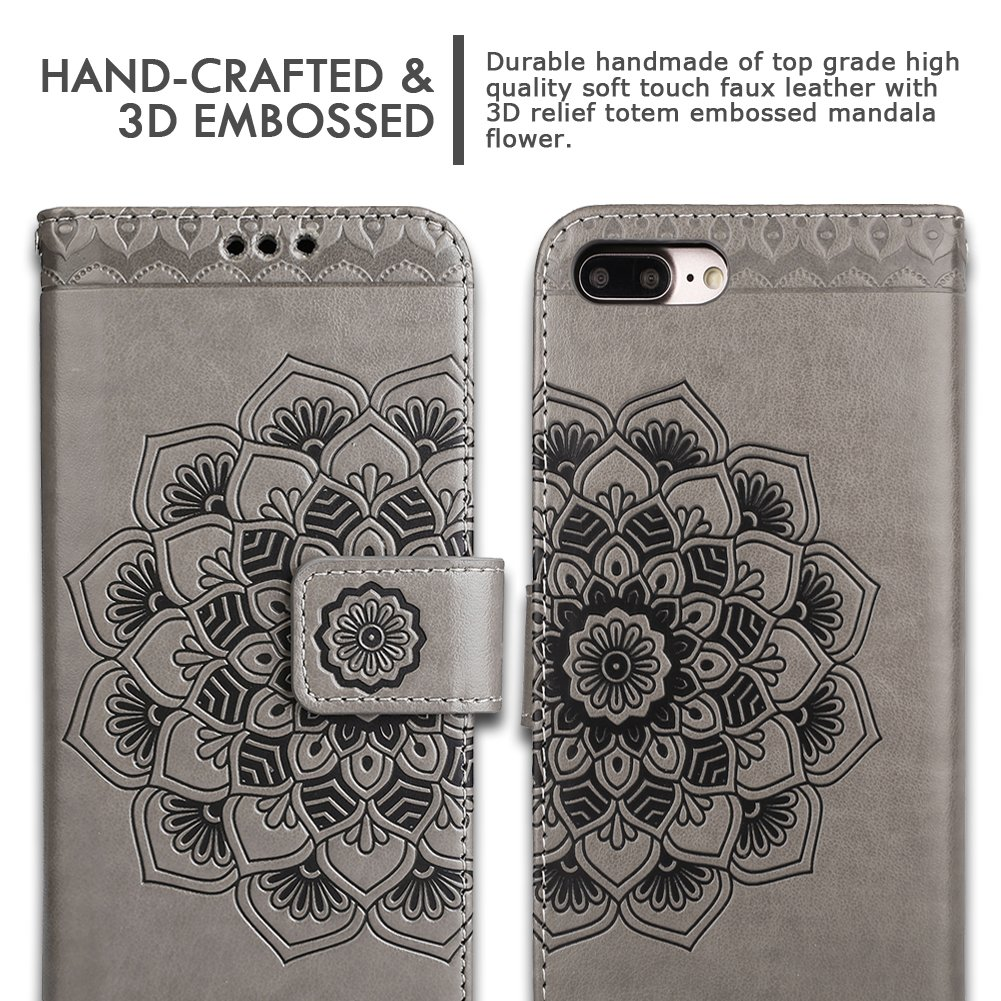 iPhone 8 Plus Case,iPhone 7 Plus Flip Embossed Leather Wallet Cases with Protective Detachable Slim Case Fit Car Mount,CASEOWL Mandala Flower Design with Card Slots, Strap for iPhone 7/8 Plus[Gray] by CASEOWL (Image #9)